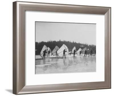 People Ice Skate Sailing on a Lake-Ralph Morse-Framed Photographic Print