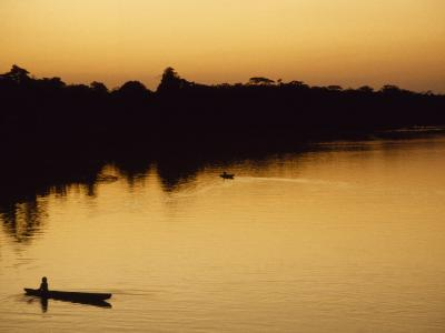 People in Canoes on the Calm Waters of the Amazon River, Amazon River, Colombia and Peru-Marcia Kebbon-Photographic Print