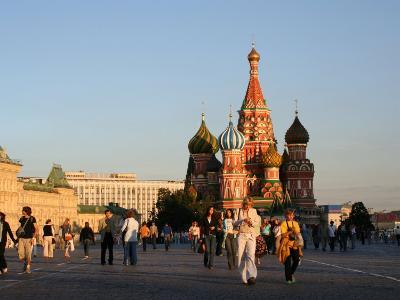 People in Front of St. Basil's Cathedral, Moscow, Russia-Jonathan Smith-Photographic Print