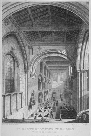 People in Pews Inside the Church of St Bartholomew-The-Great, Smithfield, City of London, 1837-John Le Keux-Giclee Print
