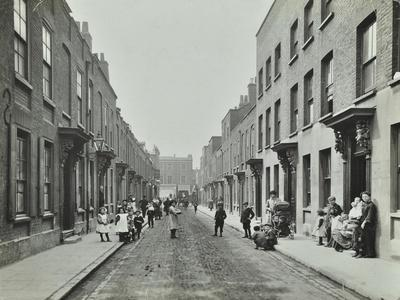 People in the Street, Albury Street, Deptford, London, 1911--Photographic Print