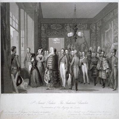 People in the The Audience Chamber in St James's Palace, Westminster, London, 1837-Harden Sidney Melville-Giclee Print
