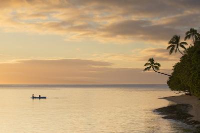 People Kayaking at Sunset, Leleuvia Island, Lomaiviti Islands, Fiji-Ian Trower-Photographic Print