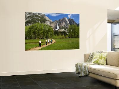 People Looking at Yosemite Falls from Wooden Walkway-Emily Riddell-Wall Mural