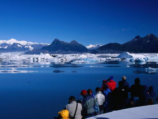 People on Tour Boat Looking Over Columbia Glacier, Prince William Sound, USA-Brent Winebrenner-Photographic Print