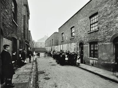 People Outside Boarded-Up Houses in Ainstey Street, Bermondsey, London, 1903--Photographic Print