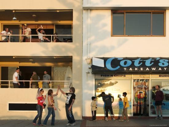 People Outside Cott's Takeaway, Cottesloe Beach-Orien Harvey-Photographic Print