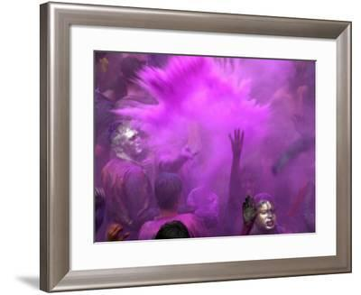 People Painted with Bright Colors Dance During the Festival of Holi on March 7, 2004-Anupam Nath-Framed Photographic Print