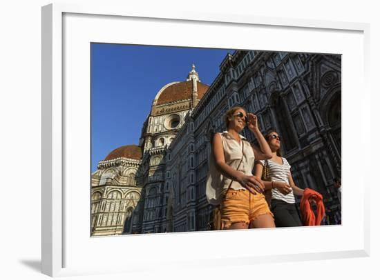 People Passing the Basilica Di Santa Maria Del Fiore, Crowned by the Brunelleschi Cupola-Dave Yoder-Framed Photographic Print