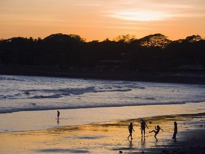 People Playing Football on the Beach at La Libertad, Pacific Coast, El Salvador, Central America-Christian Kober-Photographic Print