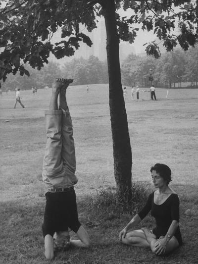 People Practicing Yoga in Central Park--Photographic Print
