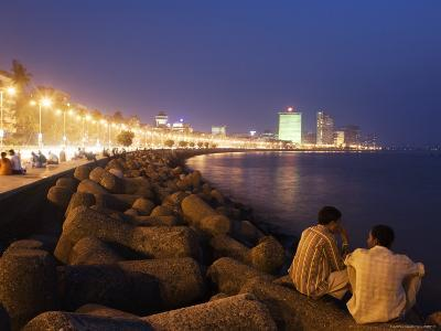 People Relax at the End of Day Along Marine Drive-Orien Harvey-Photographic Print