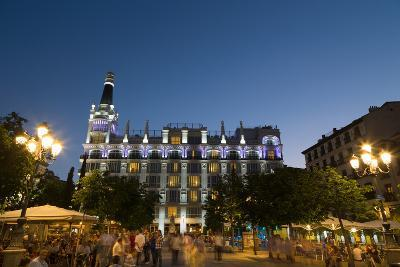 People Relaxing in In the Evening in Plaza De Santa Ana in Madrid, Spain, Europe-Martin Child-Photographic Print