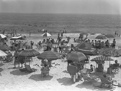 People Relaxing on Beach, Elevated View-George Marks-Photographic Print