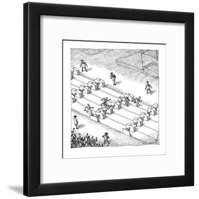People run hurdles on a track jumping over turnstiles. - New Yorker Cartoon-John O'brien-Framed Premium Giclee Print