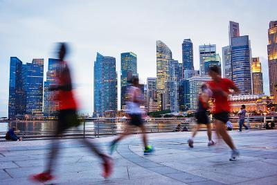 People Runing in the Evening in Singapore-joyfull-Photographic Print
