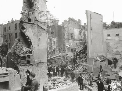 People Searching the Ruins after a Bombing or Impact of V1 or V2, United Kingdom, 1944--Photographic Print