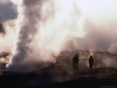 People Silhouetted Against Steam from Geyser Vent, Sol De Manana, Bolivia-Brent Winebrenner-Photographic Print