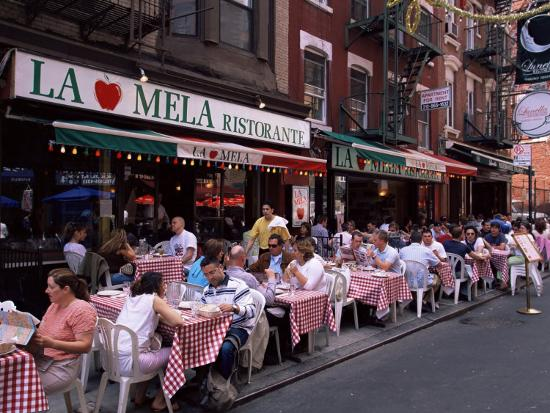 People Sitting At An Outdoor Restaurant Little Italy Manhattan New York State Photographic Print By Yadid Levy Art