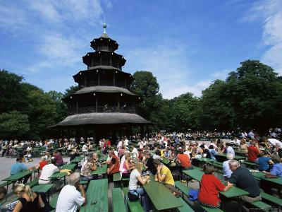 People Sitting at the Chinese Tower Beer Garden in the Englischer Garten, Munich, Bavaria, Germany-Yadid Levy-Photographic Print