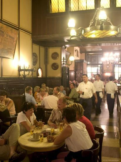 People Sitting Inside the Fruh Am Dom Beer Hall in the Altstadt, Cologne, North Rhine Westphalia-Yadid Levy-Photographic Print