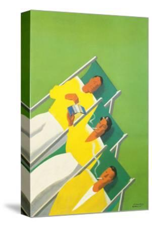 People Smoking in Deck Chairs, French Poster