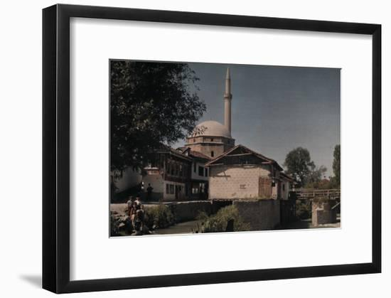 People Standing Outside of the Sinan Pasha Mosque-Hans Hildenbrand-Framed Photographic Print