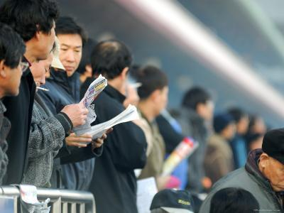 People Studying Form Guide at Seoul Racecourse, Seoul, South Korea-Anthony Plummer-Photographic Print