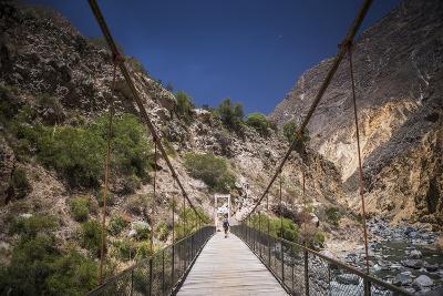 People Trekking over Colca River Bridge, Colca Canyon, Peru, South America-Matthew Williams-Ellis-Photographic Print