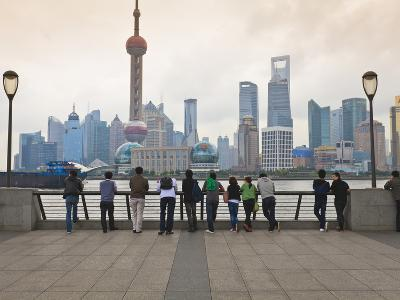 People Viewing the Pudong Skyline and the Oriental Pearl Tower from the Bund, Shanghai, China, Asia-Amanda Hall-Photographic Print