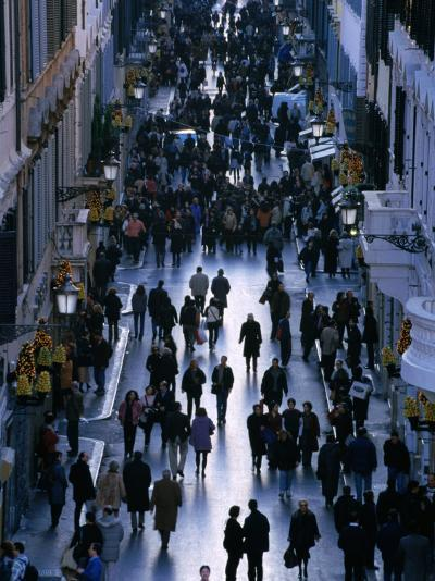 People Walk the Via Condotti as Seen from the Spanish Steps, Rome, Italy-Martin Moos-Photographic Print