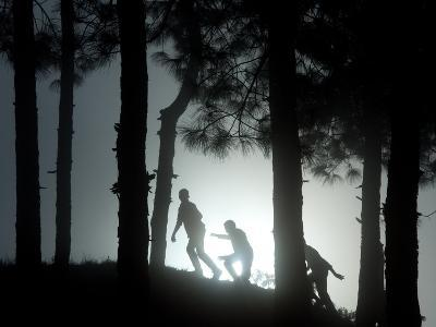 People Walk Through the Jungle in Mist-Narendra Shrestha-Photographic Print