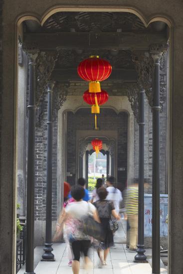 People Walking Along Corridor at Chen Clan Academy, Guangzhou, Guangdong, China, Asia-Ian Trower-Photographic Print