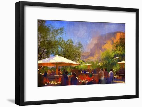 People Walking in the Park,Digital Painting,Illustration-Tithi Luadthong-Framed Art Print
