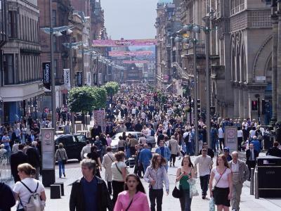 People Walking on Buchanan Street, Glasgow, Scotland, United Kingdom-Yadid Levy-Photographic Print