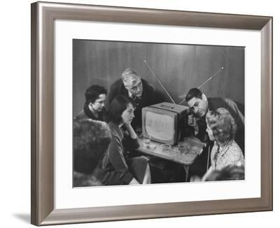 People Watching Senator John F. Kennedy on TV After His Victory in the Primary Election-Stan Wayman-Framed Photographic Print