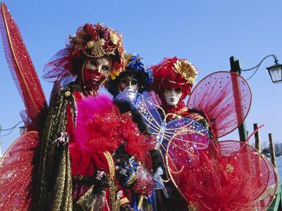 People Wearing Masked Carnival Costumes, Venice Carnival, Venice, Veneto, Italy-Bruno Morandi-Photographic Print