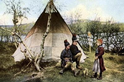 People with a Traditional Tent, Lapland, Sweden, C1923--Giclee Print