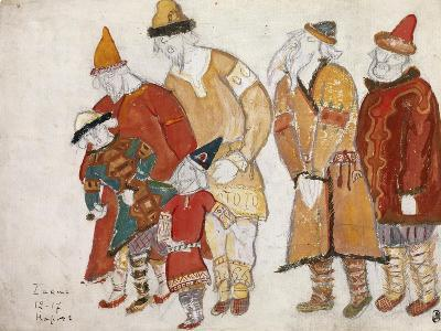 Peoples. Costume Design for the Opera Prince Igor by A. Borodin, 1914-Nicholas Roerich-Giclee Print