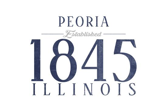 Peoria, Illinois - Established Date (Blue)-Lantern Press-Art Print