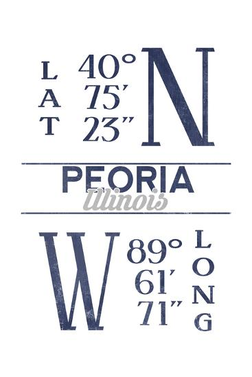 Peoria, Illinois - Latitude and Longitude (Blue)-Lantern Press-Art Print