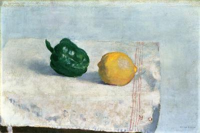 Pepper and Lemon on a White Tablecloth, 1901-Odilon Redon-Giclee Print