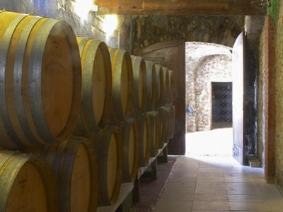 Barrels of Wine Aging in the Cellar, Chateau Vannieres, La Cadiere d'Azur