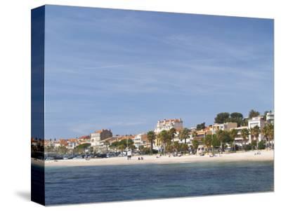 Beach with Palm Trees Along Coast in Bandol, Cote d'Azur, Var, France
