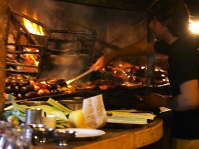 Chef Working in Restaurant La Estacada on the Waterside, Montevideo, Uruguay
