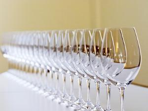 Row of Glasses for Tasting, Chateau Baron Pichon Longueville, Pauillac, Medoc, Bordeaux, France by Per Karlsson