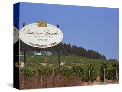 Sign for Domaine Laroche and the Les Clos Grand Cru Vineyard, Chablis, France