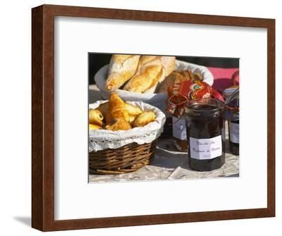 Wicker Basket with Croissants and Breads, Clos Des Iles, Le Brusc, Var, Cote d'Azur, France