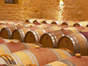 Wine Cellar, Barriques Barrels, Chateau Grand Mayne, Saint Emilion, Bordeaux, France by Per Karlsson
