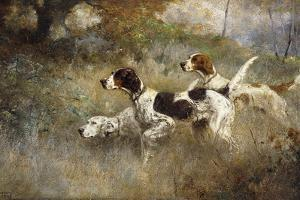 The Setters Three, Bob, Bill and Ginger on a Triple Point, 1927 by Percival Leonard Rosseau